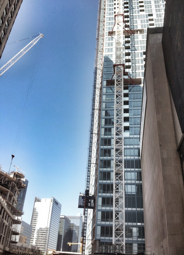 The L Tower, crane and hoist, Friday, July 11 2014