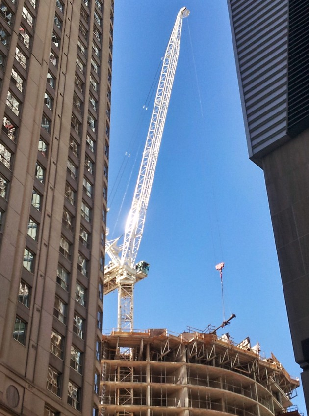 The crane in action at Backstage condominium, August 28, 2014