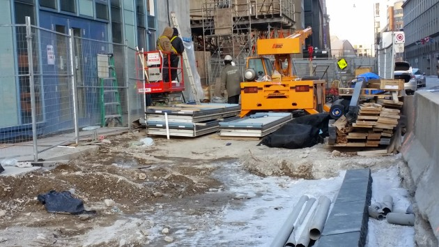 Working in the cold at L Tower, January 16, 2015