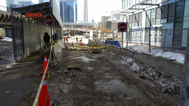 City Workers have closed The Esplanade to car traffic at Yonge