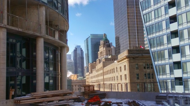 Looking west toward the Dominion Building from the Backstage podium roof deck
