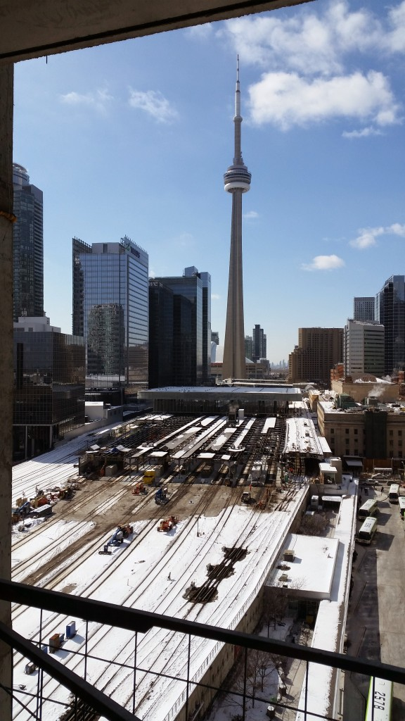 The CN Tower & Union Station seen from the 13th floor of Backstage