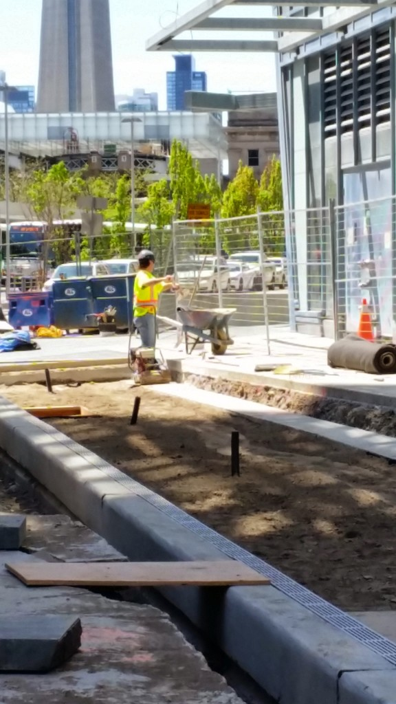 Esplanade sidewalk work at L Tower May 14