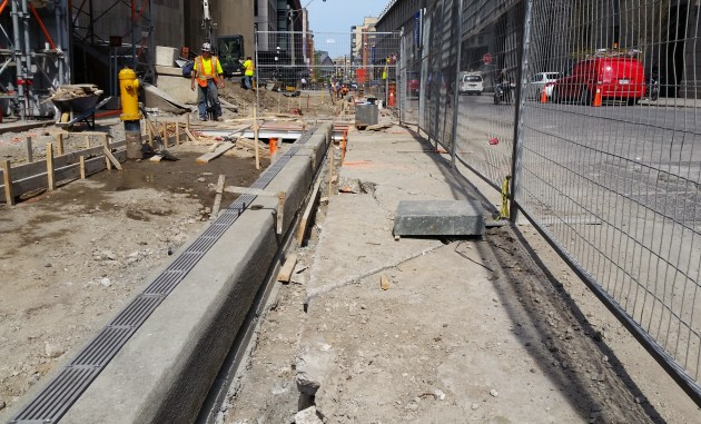 L Tower Sidewalk Work just east of Yonge