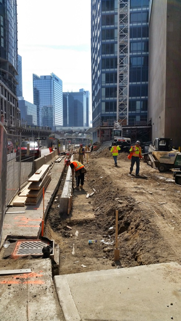 Sidewalk work at L Tower on The Esplanade