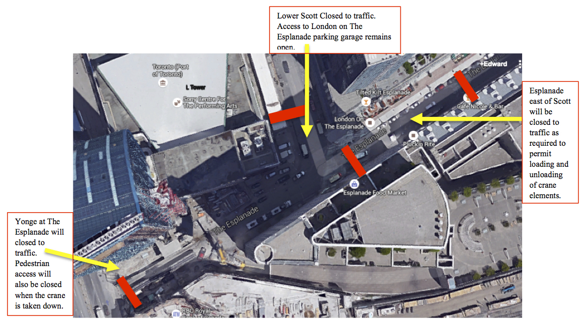 Preliminary map of the May 26 - 28, Road Closure on The Esplanade