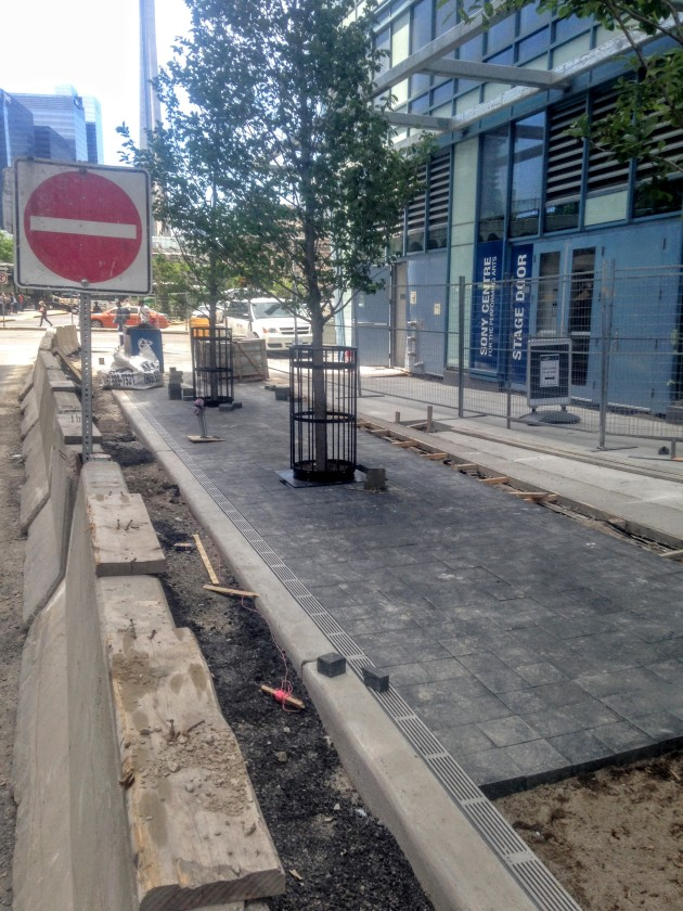 L Tower sidewalk work on The Esplanade