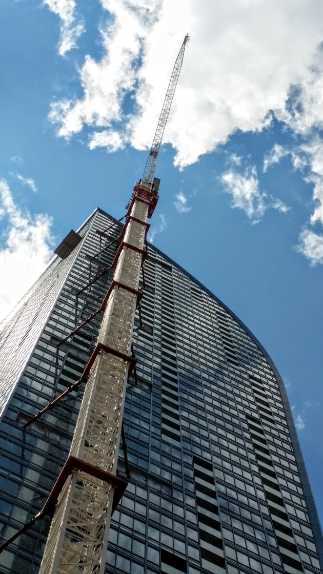 L Tower and tower crane, July 24, 2015.