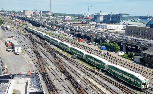 GO Train seen from Backstage condo looking east.
