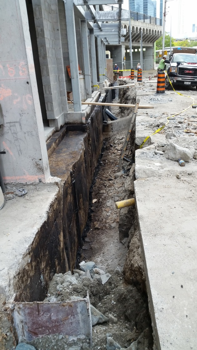 Trench at Backstage that will be filled in with concrete September 14 and 15, 2015