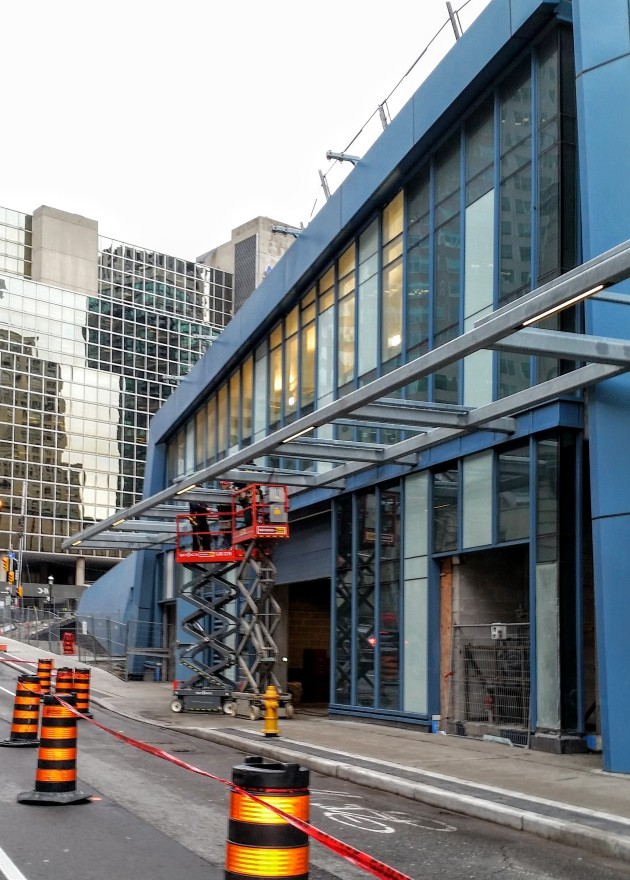 L Tower Canopy Glass installation Yonge Street