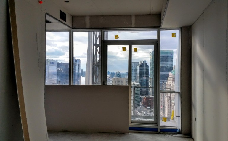Looking west from the 36th floor at Backstage as interior suite finishing continues.