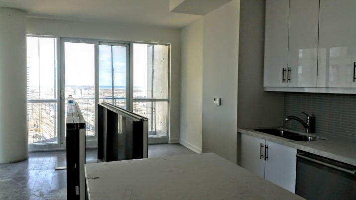 Penthouse unit with some remainig finishing work, looking east southeast