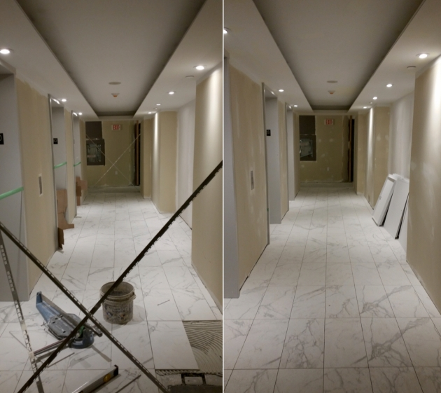 Backstage tower hallways almost finished.