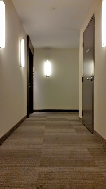 A finished hallway on the 8th floor at Backstage