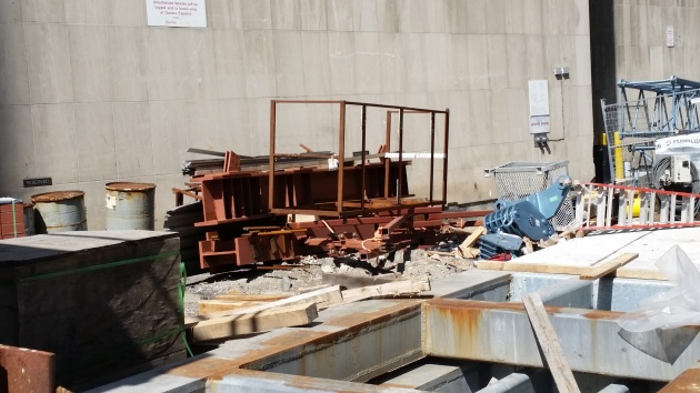 A mix of material removed from the 60th floor and material wating to be installed aterial at the L Tower site on The Esplanade