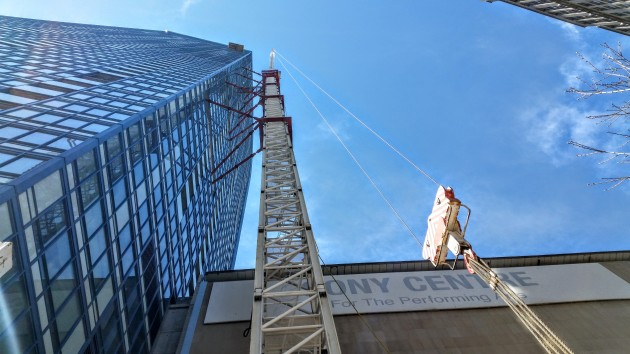 L Tower crane part way down May 6, 2016