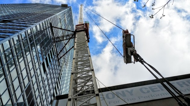 Looking up at the last section of the tower crane at L Tower, May 13, 2016