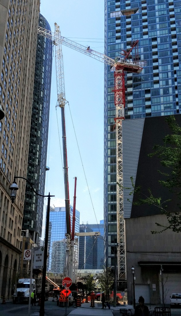 Looking west to the L Tower with a mobile crane in position to remove the L Tower's crane