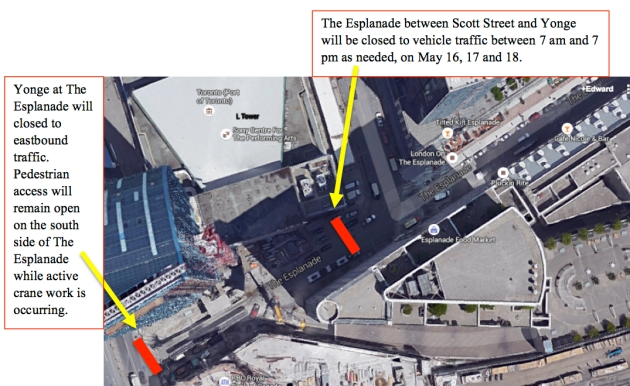 The Esplanade May 2016 Road Closure Map