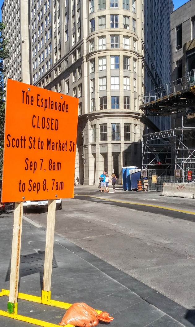 The Esplanade closed Market to Scott Street September 7, 8 AM to September 8, 7 AM.