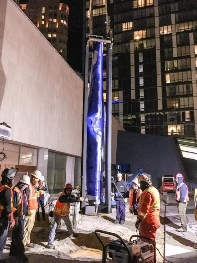 The final sculpture of the Dream Ballet being put in place at the Sony Centre.