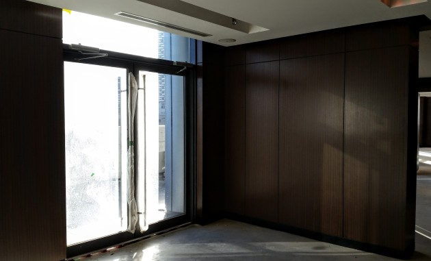 Amenity room panelling installed