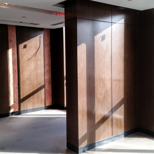 Amenity space panelling in progress.