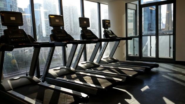 Gym equipment installed.