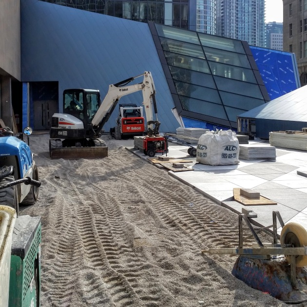 Progress continues on the Sony Centre northwest plaza.