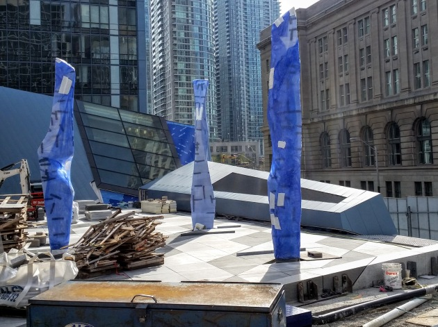 Triptych: Dream Ballet awaits its reveal at the Sony Centre's northwest plaza.