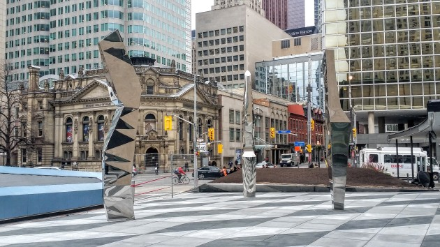 Dream Ballet Triptych by Harley Valentine, in the Claude Cormier designed Sony Centre Plaza.