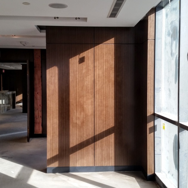 Panelling installed in the interior amenity spaces.